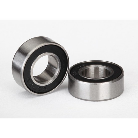 Ball bearings, 7x14x5mm, black rubber sealed (2)