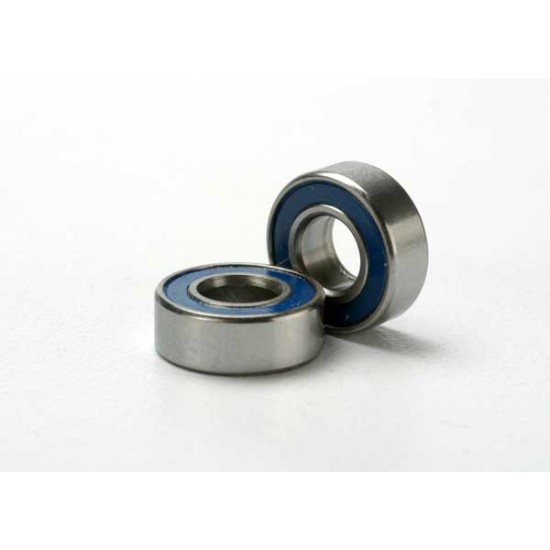 Ball bearings, 5x11x4mm, blue rubber sealed (2)