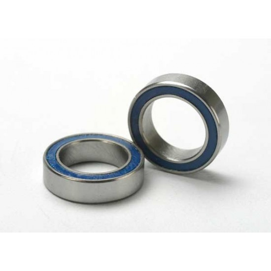 Ball bearings, 10x15x4mm, blue rubber sealed (2)