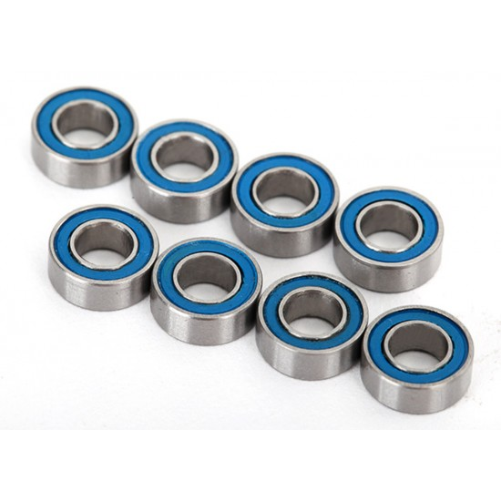 Ball bearings, 4x8x3mm, blue rubber sealed (8)