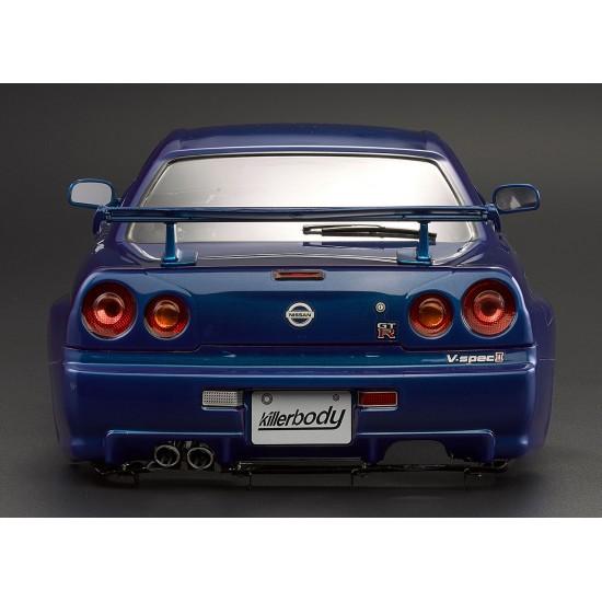 Killerbody Nissan Skyline R34 body, metallic blue, 195mm
