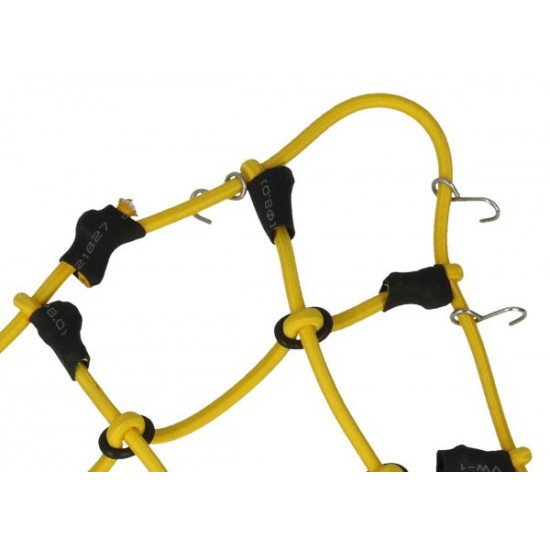 Luggage net with hooks, 150x120mm, yellow