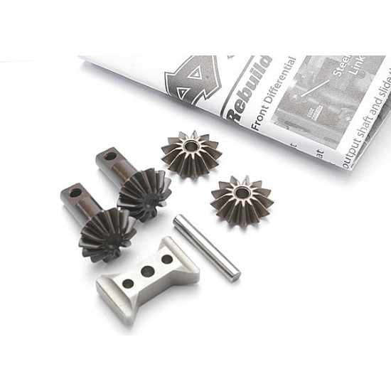 Gear set, differential, output and spider gears, carrier