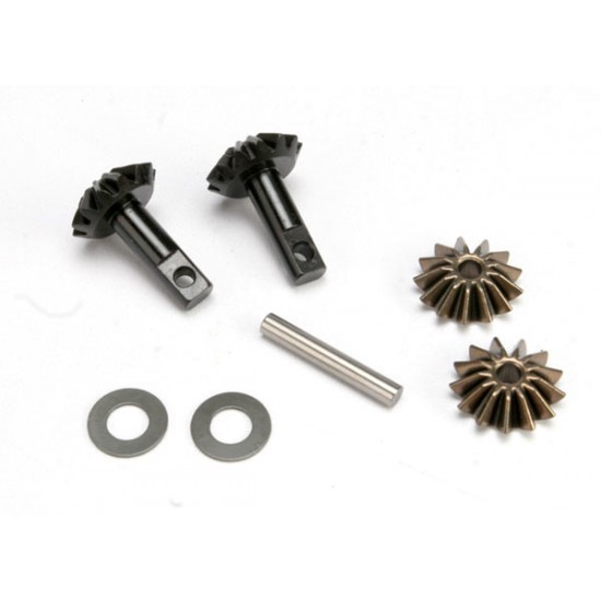 Gear set, differential, output and spider gears, shaft