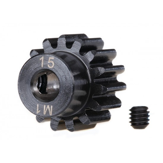 Gear, 15-T pinion (1.0 metric), set screw, machined, 5mm shaft