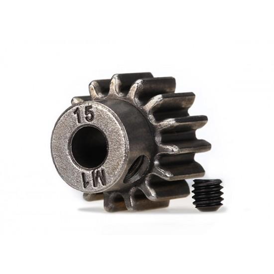 Gear, 15-T pinion (1.0 metric), set screw, 5mm shaft