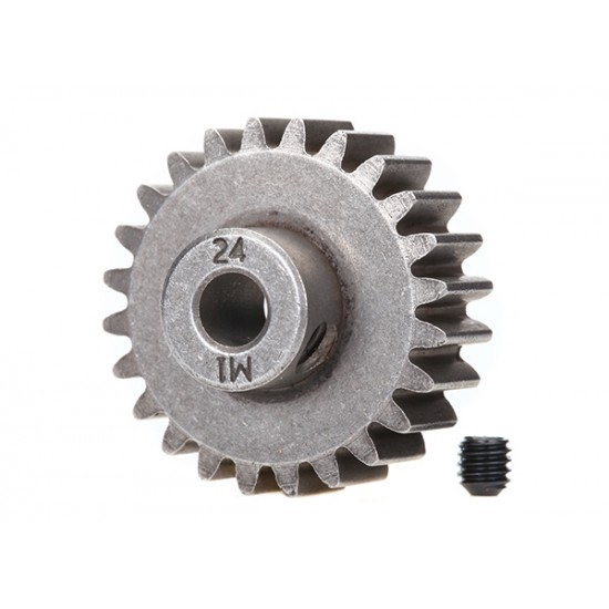Gear, 24-T pinion (1.0 metric), set screw, 5mm shaft