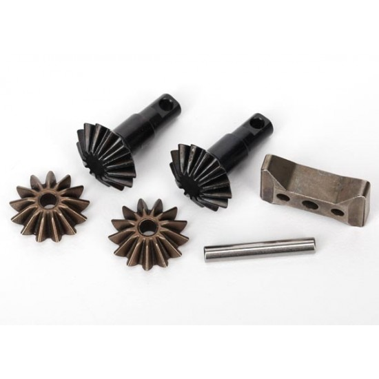 Gear set, differential, output and spider gears, carrier, shaft