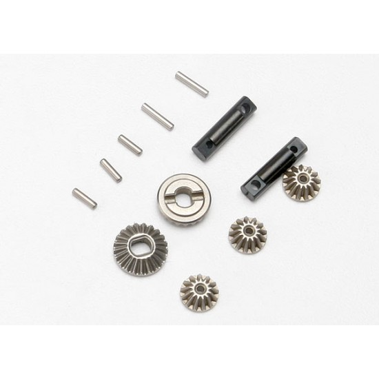 Gear set, differential, output and spider gears, pins