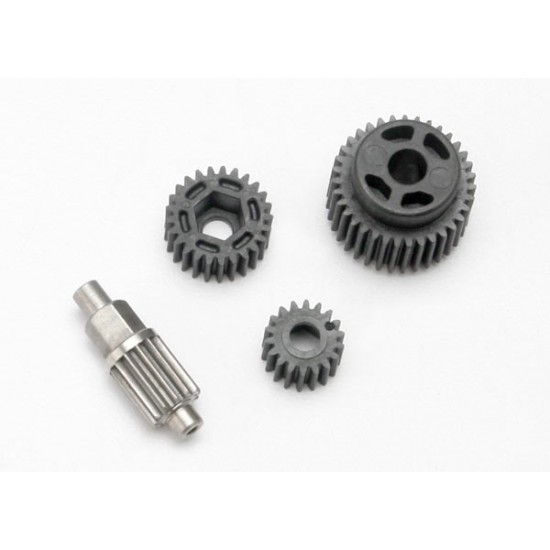 Gear set, transmission, gears and pin