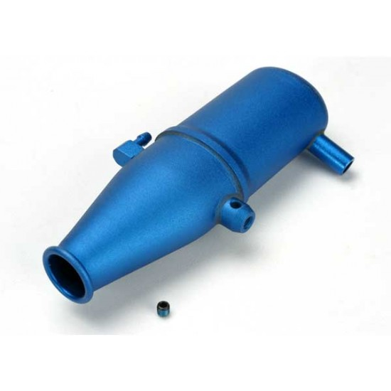 Tuned pipe, aluminum, blue anodized, dual chamber
