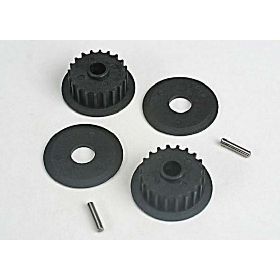 Pulleys, 20-groove, middle, flanges, axle pins (2)