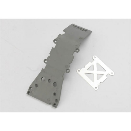 Skid plate, front, plastic, grey, stainless steel plate