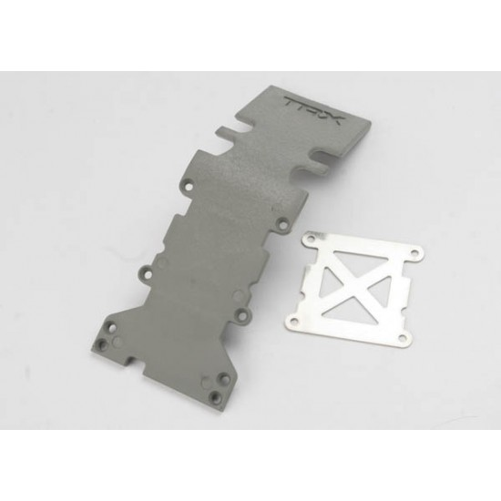 Skid plate, rear, plastic, grey, stainless steel plate