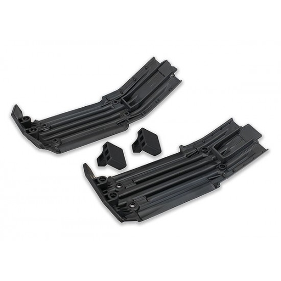 Skid plate set, front and rear, rubber cushions