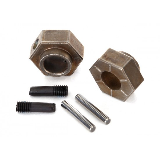 Wheel hubs, hex, 12mm, steel, stub axle pins (2)
