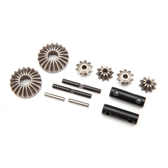 Gear set, differential, output and spider gears, shafts, pins