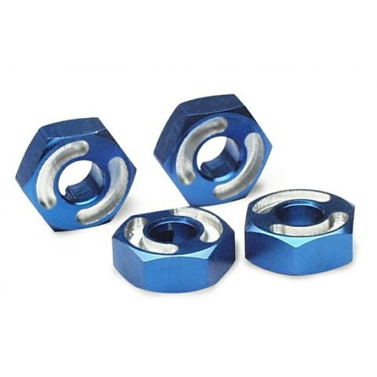 Wheel hubs, hex, 14mm, blue anodized, axle pins (4)