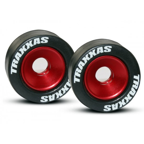 Wheels, aluminum, red anodized, rubber tires (2)