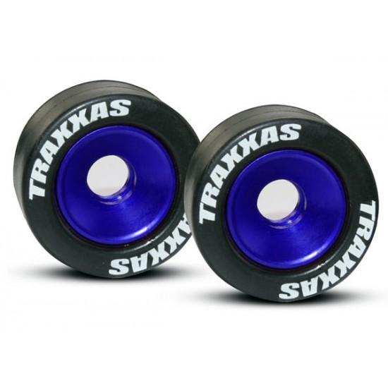 Wheels, aluminum, blue anodized, rubber tires (2)