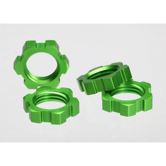 Wheel nuts, splined, 17mm, green anodized (4)