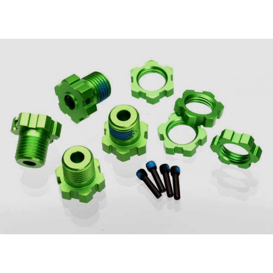 Wheel hubs, splined, 17mm, green anodized, wheel nuts (4)