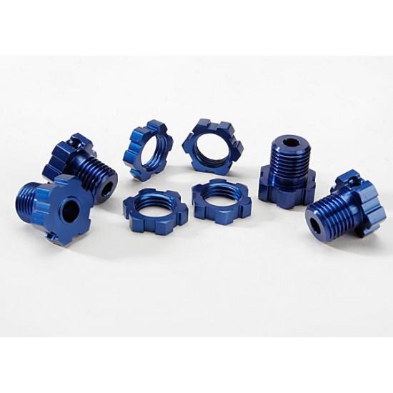 Wheel hubs, splined, 17mm, blue anodized, wheel nuts (4)