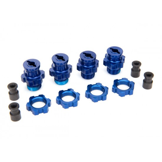 Wheel hubs, splined, 17mm, blue anodized, S / L, nuts (4)