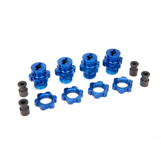 Wheel hubs, splined, 17mm, blue anodized, short, nuts (4)