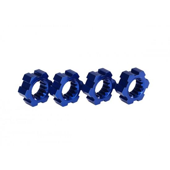 Wheel hubs, splined, blue anodized aluminum (4)