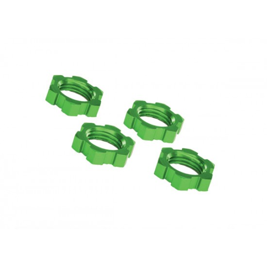 Wheel nuts, splined, 17mm, green anodized, serrated (4)