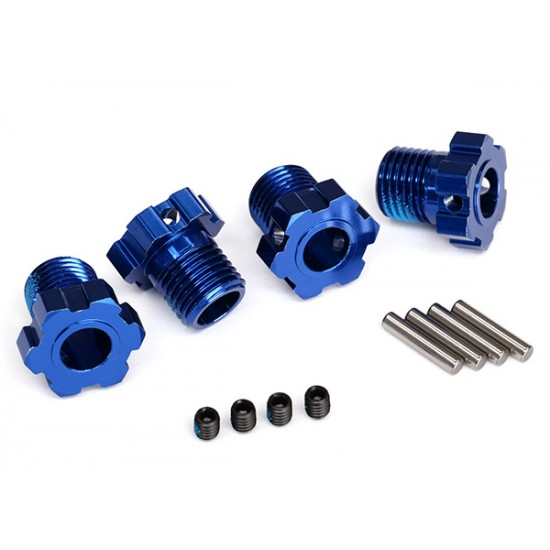 Wheel hubs, splined, 17mm, blue anodized, pins, GS (4)