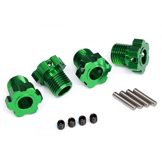 Wheel hubs, splined, 17mm, green anodized, pins, GS (4)