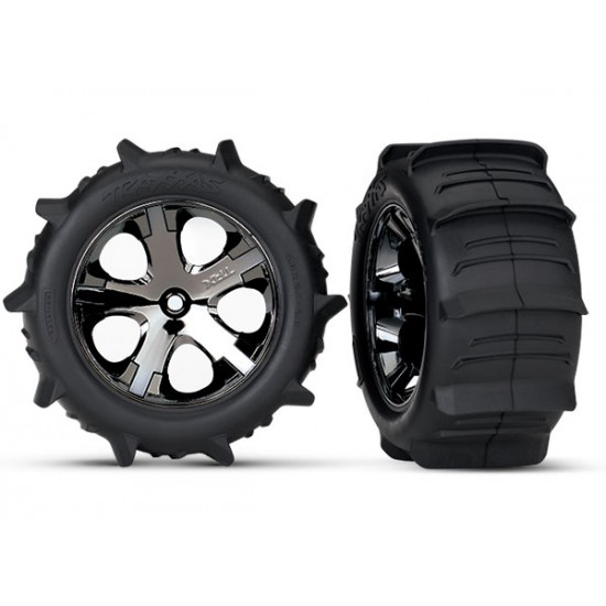 Tires and wheels, black chrome wheels, Paddle tires, 2WD rear (2)