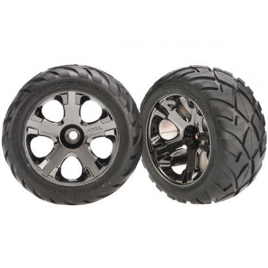 Tires and wheels, black chrome wheels, Anaconda tires, front (2)
