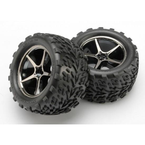 Tires and wheels, Gemini black chrome wheels, Talon tires, 1/16 (2)